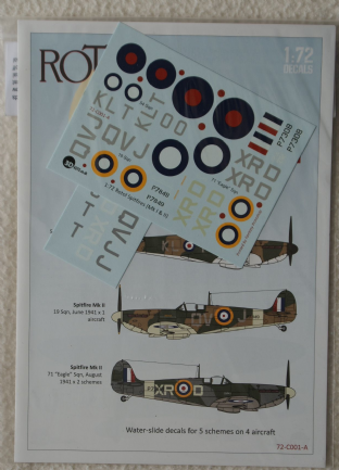 3D Kits 1/72 C001A Supermarine Spitfire MK.II Decal Set